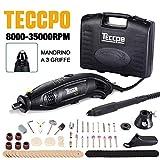 Utensile Multifunzione, TECCPO 8000-35000 RPM 170W Strumento Rotante, Rotary tool con 5 Velocità Variabile, mini Drill, 80 Accessori, Albero Flessibile, Mandrino Universale a 3 Griffe - TART04P