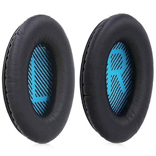 MMOBIEL Coussinets de Remplacement (Noir/Bleu) Compatible avec Casques Bose QuietComfort (QC2/ QC15/ QC35/ Sound True/ AE2 / .)