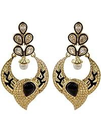 The Jewelbox Black Meenakari Pearl Earring For Women