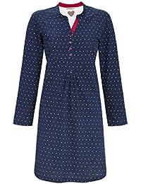 atisa Damen Nachthemd langer Arm Knopfleiste Baumwolle Creme Gr.56//58 NEU l