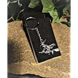 Handmade Halloween Mystic Goth Witch on a Broomstick Keyring/Handbag Charm. Can be personalised.