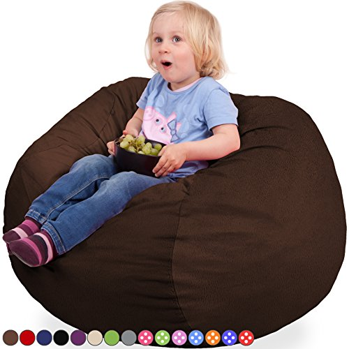 Oversized Bean Bag Chair with Premium Velour Cover in Espresso - Machine Washable Big Soft Comfort Cover & Memory Foam Filler - Cozy Lounger & Bed - Kids & Teens Love This Huge Sack - Panda Sleep Furniture