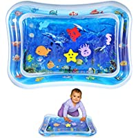 Inflatable Tummy Time Water Mat, Baby Water Play Mat Sensory Toy Infants Toddlers Fun Activity Center Ocean Theme Pad Cushion Crab Seahorse Whale Turtle Octopus Starfish for Kids Stimulation Growth