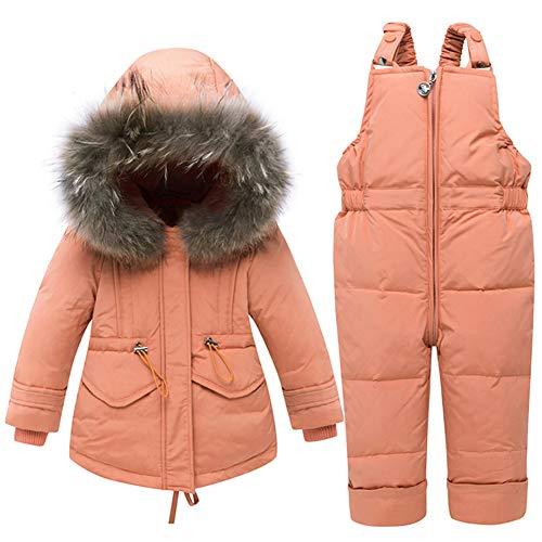 CARETOO Baby Mädchen Daunenjacke Bekleidungsset Winterjacke Mit Kapuze + Hose Kinderjacken Fell Warm Winter Coat Mantel Jacke Dicke Warme Kinderskianzug