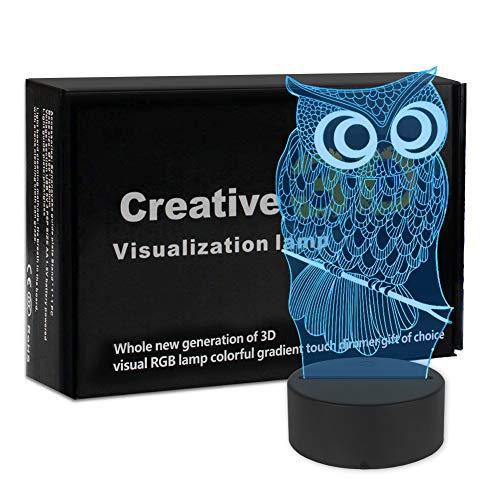 3D Illusion Nachtlampe, SUNINESS LED Eule Nachtlicht für Kinder Kinder Familie Ferienhaus Dekoration Valentinstag Geschenk 2d Mag-led