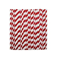 tecmac Eco-Friendly and Disposable White - Red Stripes Paper Straws | 6 mm | 100 Pieces