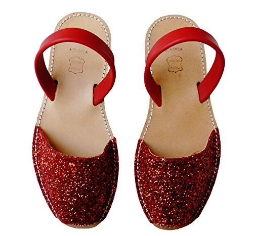 Menorquinas Avarcas. Plate-forme / coin 4.8cm. glitter, avarcas menorquínas. Glitter rojo