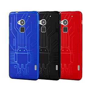 HTC One Max Case Cruzerlite Bugdroid Circuit Bundles of 3 TPU Cases Compatible for HTC One Max - Blue/Black/Red