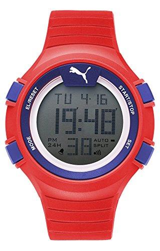 Puma Time PU911261005 - Montre Quartz - Affichage Digital - Bracelet Plastique Rouge et Cadran Gris - Homme