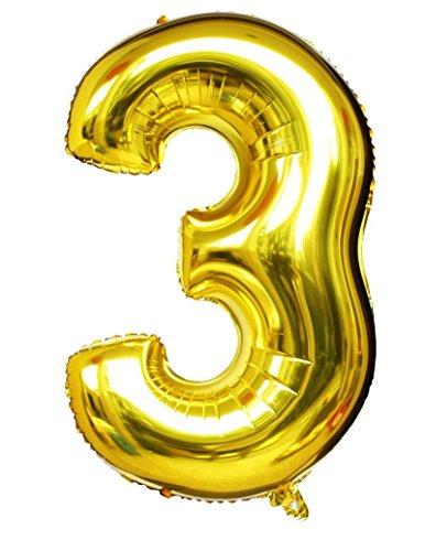 ir-gefüllt & Helium Gold Mylar Ballons für Geburtstags-Party-Zubehör (Zahl 3) (Glitter Happy Halloween)