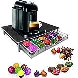 Garden Mile caffè dolce gusto, 36 Capsule caffè impilabili, cassetti, struttura in acciaio INOX, con superficie antiscivolo, Anti-vibrazioni, Supporto per Capsule di caffè dolce gusto, colore: nero
