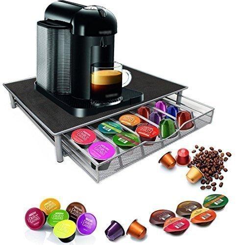 Garden Mile Dolce Gusto Kaffee-pod-halter,Stapel 36 Kapsel Kaffeepad Aufbewahrungs Schublade ,Edelstahl Holzrahmen Mit Anti Vibration Rutschfest Oberfläche