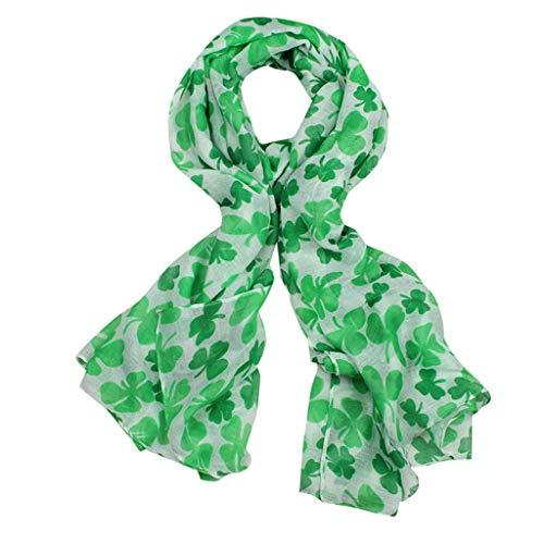 VEMOW New Coming St. Patrick's Day Grüne Irische Elegante Damen Damen Schal Vierblatt Klee Freizeit Schals Wrap(Minzgrün, 90cmX180CM) (Wraps Schals Irische Und)