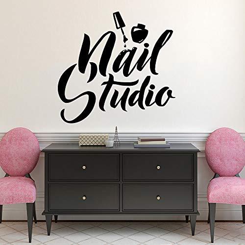 zqyjhkou Nail Art Polish Wandaufkleber Beauty Salon Decor Maniküre Pediküre Vinyl Wandbild Nail Studio Logo Wand Windows Aufkleber Ay1618 42x40cm