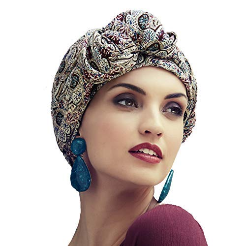 Boho Spirit Headwear Espectacular Turbante Sapphire con su Banda Amovible y Ajustable - Disponible en Dos Estampados (Liberty Oriental)