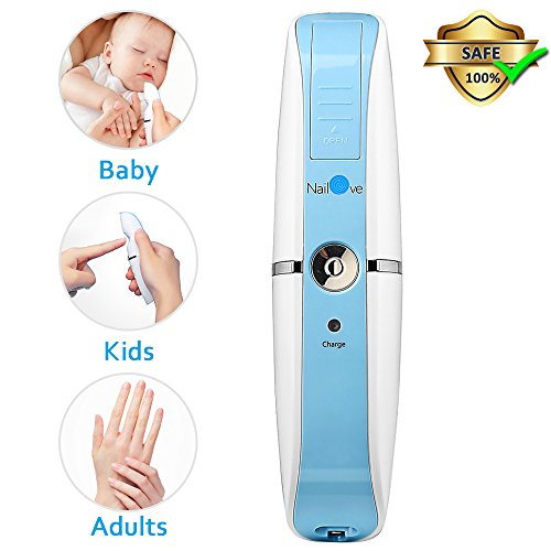 Baby Nagelfeile, Comsoon Nagelschere Baby Elektrisch Automatische Nagelpflege [Pflege, Schnitt, Trimmen, Polieren], Sicher für Neugeborene Kleinkind Kinder oder Erwachsene, USB Aufladen (Blau)