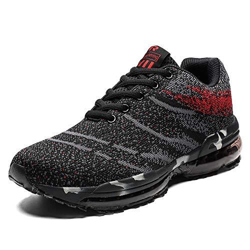 Scarpe da Ginnastica Uomo Donna Scarpe Corsa Air Cushion Sportive Running Atletico Allacciare Sneakers Rosso 37