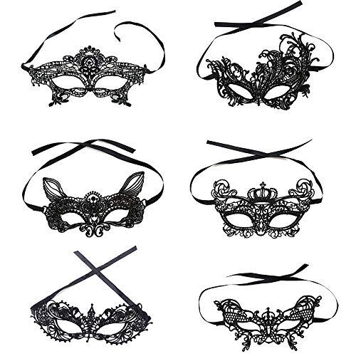 Wencaimd Sportliche Masken Maskerade Maske Für Frauen Spitze Maskerade Maske Frauen Sexy Augenmaske für Halloween Party Maskerade Ball Schule Prom Hochzeit Zubehör (6 Packs) für draußen