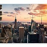 murando - Fototapete 400x280 cm - Vlies Tapete - Moderne Wanddeko - Design Tapete - Wandtapete - Wand Dekoration - NY New York City Stadt Stadtpanorama Stadtbild Sonnenuntergang d-A-0011-a-a