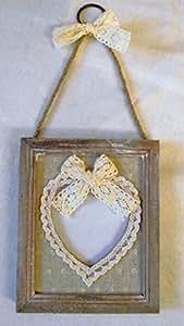 Heaven Sends Décoration de mariage vintage Cadre photo en bois vieilli à pendre Motif cœur