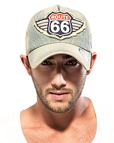 ililily Route 66 Wing Logo Patch Denim Mesh Back Snapback Hat Baseball Cap (ballcap-1081-2)
