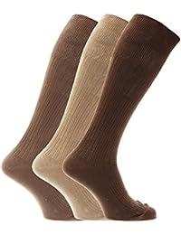 Chaussettes hautes striées pour homme 100% coton (lot de 3 paires)