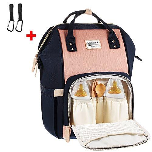 Baby Wickelrucksack mit 2 Kinderwagen-haken, Multifunktionale Wasserdichte Wickeltasche mit große Kapazität und warme Tasche, Babytasche...