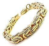 Königsarmband vergoldet 10 mm Länge 21 cm Armband Herren-Armband Goldarmband Damen Geschenk Schmuck ab Fabrik Italien tendenze BZG10-21
