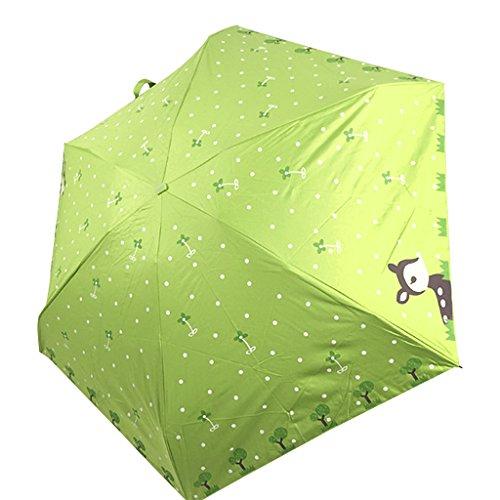 Niedlichen Kinder Mini Regenschirm Sonnenschirm aus Nylon 5 Stufen Faltbar UV-Schutz Schirm Manuell Öffnen für Outdoor Camping- Hirsche Motiv