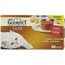 Gourmet Gold Tortini Gatto con Manzo, con Pollo, 4 x 85 g - Confezione da 12 pezzi