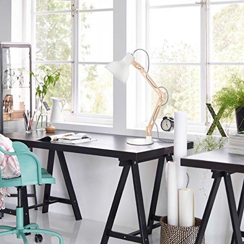 confronta il prezzo Tomons lampada da lettura design legno classico, lampada da tavolo, lampada regolabile scrivania, con braccio snodato, eye-friendly, la lampada da lavoro, lampada da ufficio, lampada da comodino Bianco miglior prezzo