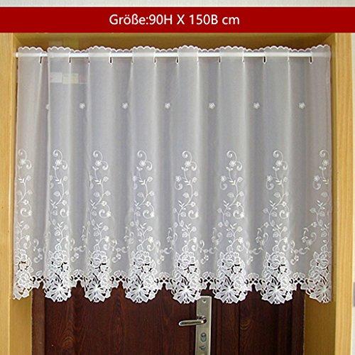 1er Pack Halbtransparent Besticke Weiß Blumen Scheibengardine Küchen Vorhang Tür Gardine