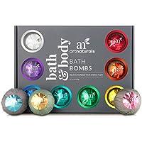 Set de regalo de 12 bombas de baño ArtNaturals de 110 g, hechas a mano con aceites esenciales, para la relajación, hidratación y diversión para todas las edades