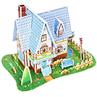 Sansee Puzzle 1 Set 3D Paper House Jigsaw Learning Training Educational Developmental Toy Exercise Hand And Brain Home School for Baby Kids Christmas Festival Birthday Gift