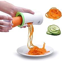 Affettaverdure a Spirale Crea Spaghetti Pasta Zucchine Carote, Uten Spiralizzatore Tagliaverdure Verdure Carote da Cucina con Pennello di Pulizia