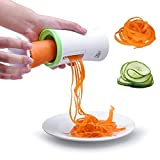 Vegetable Slicer,(Uten)Hand Held Vegetable Spiralizer With Free Cleaning Brush, Best Vegetable Salad & Spaghetti Maker For Low Carb, Food Grade ABS+ BPA Free Material Vegetable Spiral Slicer Vegetable Cutter [Green/White,1 Pack]