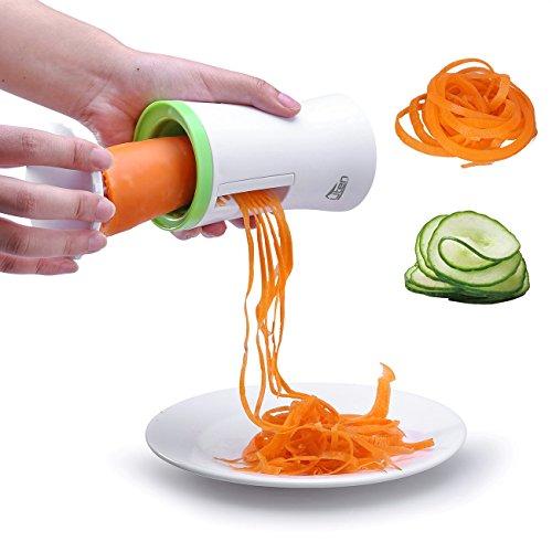 Uten Cortador de Verdura y Fruta en Espiral Multifuncional con Cepillo de Limpieza Mini Máquina de Rallador Espiral Blanco