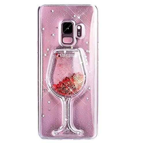 Samsung Galaxy S9 Hülle, Edaroo Weinglas design 3d Rot Glitzer Flüssig Wasser Hülle, Lustig Cool...
