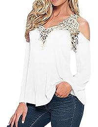 CHIC-CHIC Femme Sexy Shirt Floral en Dentelle Épaule Nue Top Blouse Manches longues Slim Shirt