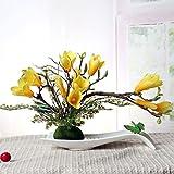 LSRHT Künstliche Blumen Set Ceramicstray Orchidee Wohnzimmer Dekoration Silk Blume Gelb