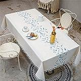 Tischdecke HAOAYOU Stickerei Dekorative Leinen Tischdecke Mit Quaste Rechteckige Hochzeit Esstisch Abdeckung 140X140CM Feather Blue