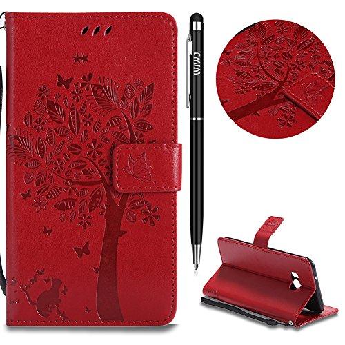 WIWJ Schutzhülle für HTC U11 Handyhülle Leather Case für HTC U11 Hülle [Impressum Katze und Baum Handy-Shell] Hülle für HTC U11-Rot