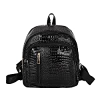 Ukallaite Latest Trend Backpack Fashion Crocodile Pattern Faux Leather Shoulder Bag Backpack Women Rucksack Surprise for The Gift