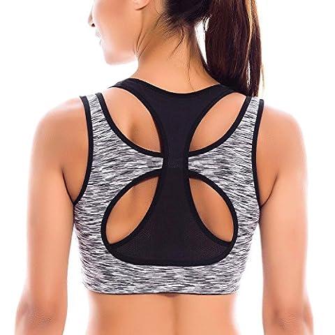 SYROKAN Femme Soutien-Gorge de Sport Yoga Double Couche Haute Impact Dos Nageur Multicolore #5 XL