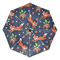 COOSUN Foxes And Wild Strawberries Automatic 3 Folding Parasol Umbrella