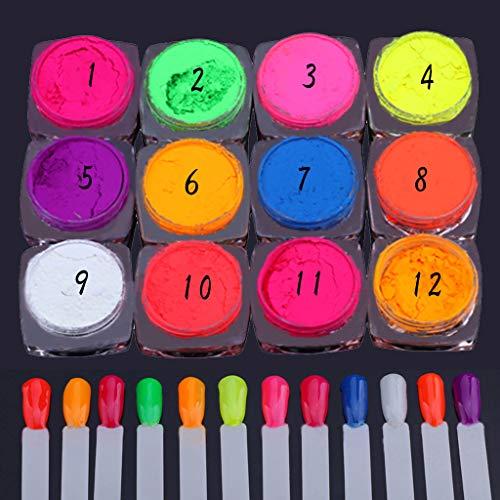 Feitb Neonpigment Nagel beleuchten Pulver Staub Nagel Funkeln Pulver Steigungs Funkeln schillerndes Neonpigment Nagel Pulver Staub Ombre Bunte Nagel Kunst Dekoration (12 Colors)