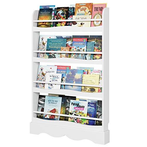Homfa Librería Infantil para Niños Estantería de Pared Estantería Infantil para Libros Revistas con 4 Estantes Blanco 80x11.5x118cm