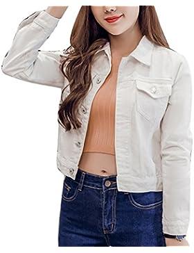 Chaqueta Para Mujer Chaqueta Vaquera Chaqueta Mezclilla Denim Jacket Manga Larga blanco L