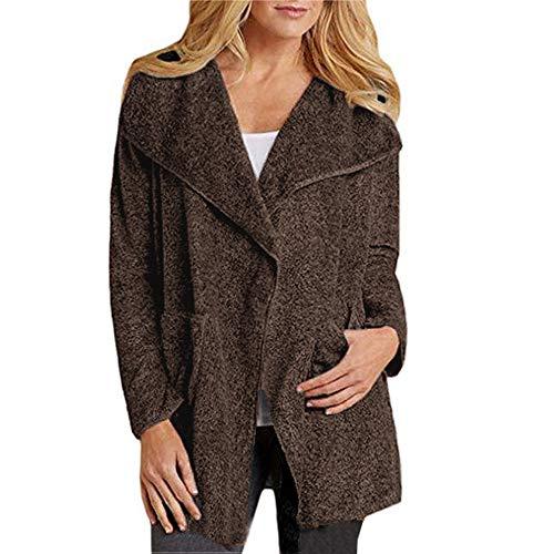 WWricotta Women Suit Fleece Long Sleeve Open Front Woolen Sweater Coat Jacket Cardigan (Braun,M)
