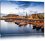 Dark Hamburger Hafen am AbendFormat: 60x40auf Leinwand, XXL riesige Bilder fertig gerahmt mit Keilrahmen, Kunstdruck auf Wandbild mit Rahmen, günstiger als Gemälde oder Ölbild, kein Poster oder Plakat